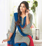 ATTRACTIVE BLUE COTTON SALWAR KAMEEEZ DRESS MATERIAL WITH DUPATTA RTZOB2920B