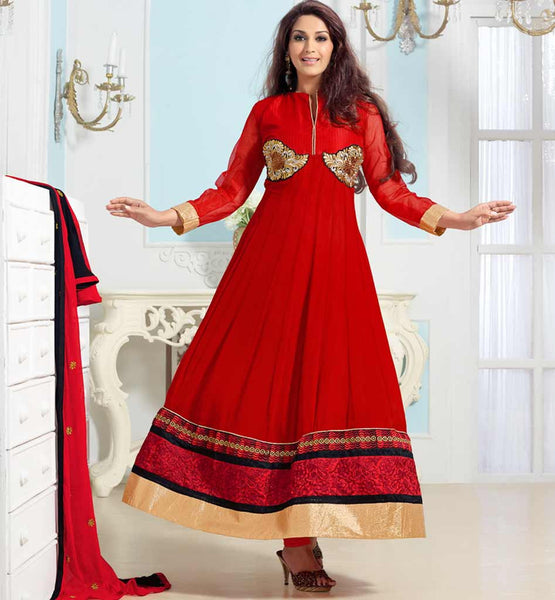 LATEST ANARKALI DRESS DESIGN OF 2015 LIKED BY MOST POPULAR BOLLYWOOD STAR AND TREND SETTER SONALI BENDRE.| RED EMBROIDERED LONG UMBRELLA SHAPED STYLISH KAMEEZ LOOKS HAP WITH BLACK AND IVORY DESIGNING WORK. MATCHING DUPATTA LOOKS COOL BECAUSE OF CONTRAST COLOR COMBINATION