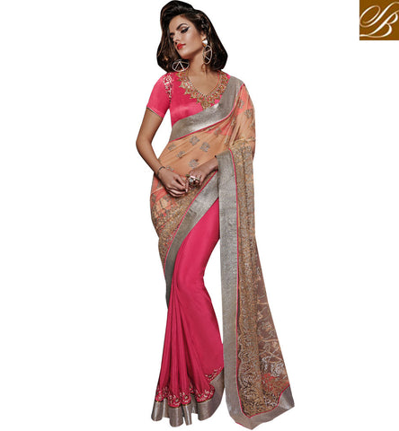 BREATHTAKING GEORGETTE & NET ZARI TIKI WORK SAREE WITH SILK BLOUSE