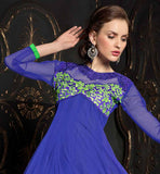 EXCELLENT BLUE AND GREEN NET GOWN AT DISCOUNTED PRICE