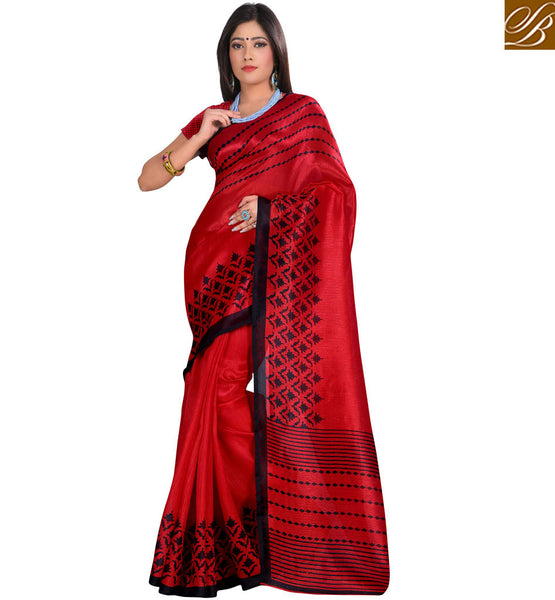 STYLISH BAZAAR BRIGHTLY COLORED DESIGNER PRINT SAREE AND BLOUSE RTVAN2