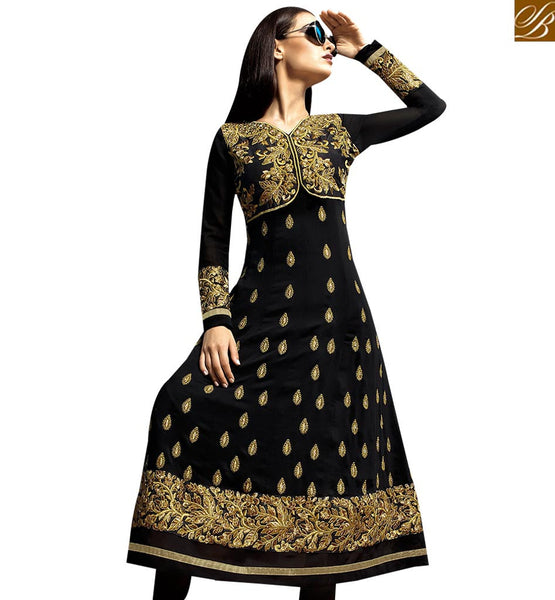 PRETTY BLACK GEORGETTE PARTY WEAR ANARKALI DRESS RTASM2