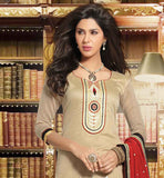 BEIGE QAMEEZ WITH COTTON BOTTOM AND RED DUPATTA