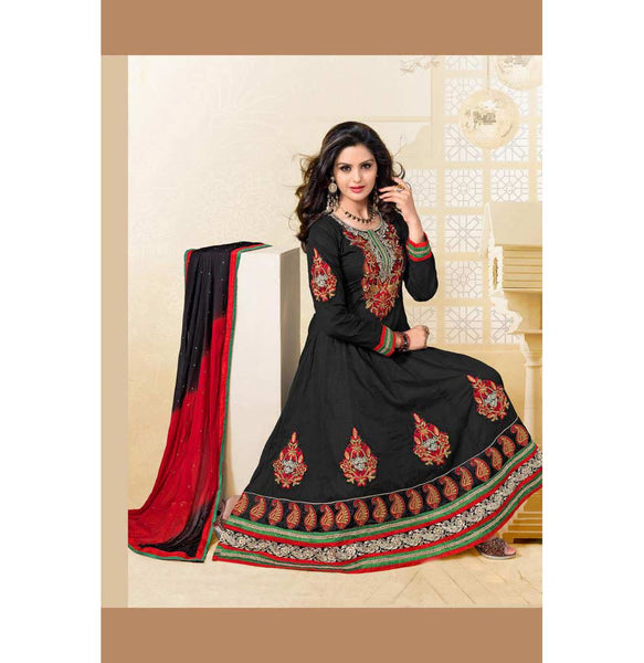 BOLD BLACK COTTON ANARKALI SALWAR SUIT RTAL2