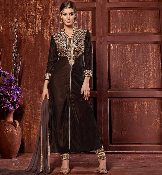 COFFEE BROWN DESIGNER VELVET SALWAR KAMEEZ ONLINE SHOPPING