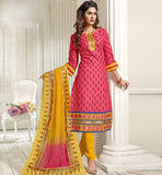 DUSTY PINK CASUAL WEAR CHANDERI COTTON SALWAR KAMEEZ WITH DUPATTA VDANT7002