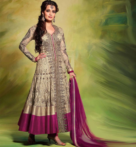 2 DIA MIRZA LATEST HANDWORK ANARKALI SALWAR KAMEEZ  STYLISH  BAZAAR A