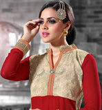 IMAGE OF BEAUTIFUL RED SALWAR SUIT WITH CHINESE BROAD COLLAR GEORGETTE FABRIC