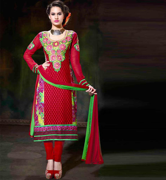 RAVISHING RED PARTYWEAR STRAIGHT SALWAR KAMEEZ FOR INDIAN WOMEN