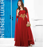 Red evening gown Indian  Indian women's evening wear  net material wedding gowns