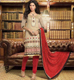 WOMEN LATEST DESIGNER BANARASI CHANDERI OFFICE WEAR SALWAR SUIT DRESS