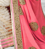 LATEST DESIGNER SAREE WITH SEQUIN BUY ONLINE PINK & CREAM