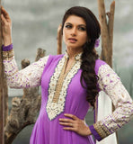 Bhagyashree in light purple anarkali salwar suit