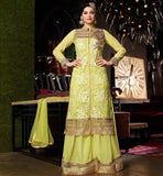 BUY INDIAN DESIGNER PARTY WEAR SALWAR SUITS ONLINE SUPERB NET AND GEORGETTE STRAIGHT CUT SUIT WITH STYLISH BOTTOM DESIGN