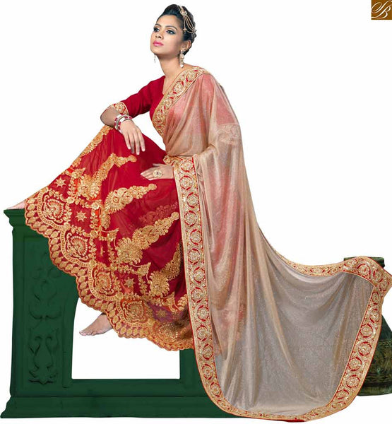 BROUGHT TO YOU BY STYLISH BAZAAR MESMERIZING CREAM AND MAROON SARI MATCHED WITH A MAROON BLOUSE RTVL30