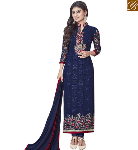 STYLISH BAZAAR ELEGANT DARK BLUE COLORED DESIGNER SALWAR KAMEEZ SLNZK30001