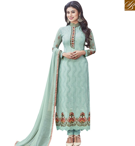 STYLISH BAZAR STYLISH SEA GREEN COLORED SALWAR SUIT WITH BEAUTIFUL EMBROIDERY WORK SLNZK30002