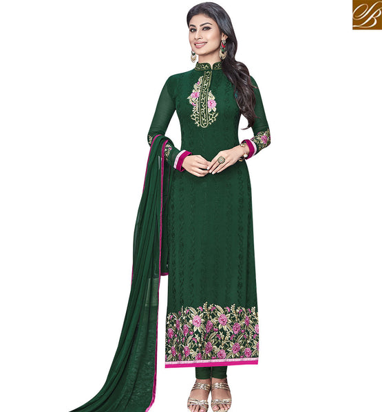 STYLISH BAZAAR GRACEFUL GREEN COLORED DESIGNER SALWAR KAMEEZ SLNZK30003