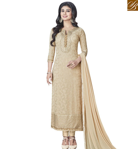 STYLISH BAZAAR MODISH CREAM COLORED DESIGNER SUIT WITH GLITTERY EMBROIDERY WORK SLNZK30004
