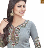 STYLISH BAZAAR PRESENTS TRENDY GREY COLORED SUIT WITH ATTRACTIVE BORDER WORK SLNZK30005