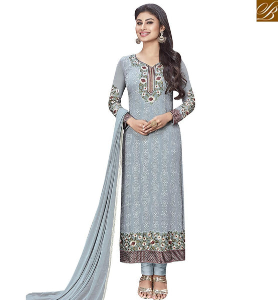 STYLISH BAZAAR TRENDY GREY COLORED SUIT WITH ATTRACTIVE BORDER WORK SLNZK30005
