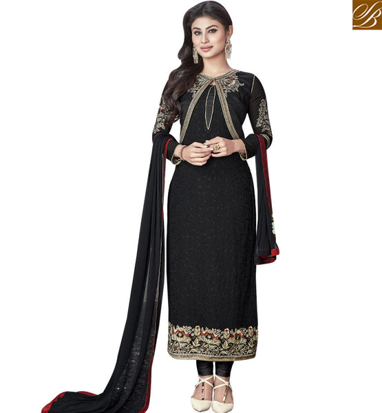 STYLISH BAZAAR GORGEOUS BLACK COLORED DESIGNER SUIT WITH EYE CATCHING BORDER WORK SLNZK30006