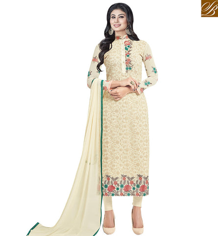 STYLISH BAZAAR STUNNING CREAM COLORED DESIGNER SALWAR SUIT SLNZK30008