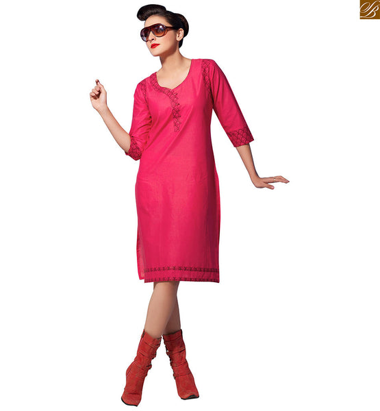 Short kurtis pure cotton tunic designs for daily wear pink pure-cotton short sleeve kurti with piping on one neck line and floral print on lower part Image
