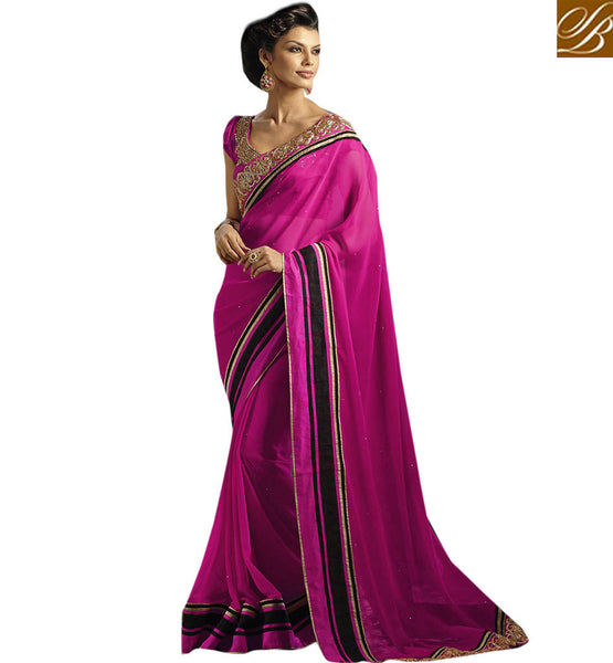 STYLISH BAZAAR LOVELY NEW EMBROIDERED DESIGN OF SARI VDCHP30014