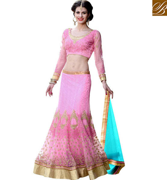 EXQUISITE BRIDAL WEAR 3 PIECE LEHENGA CHOLI DESIGN RTHYJ3001 BY PINK