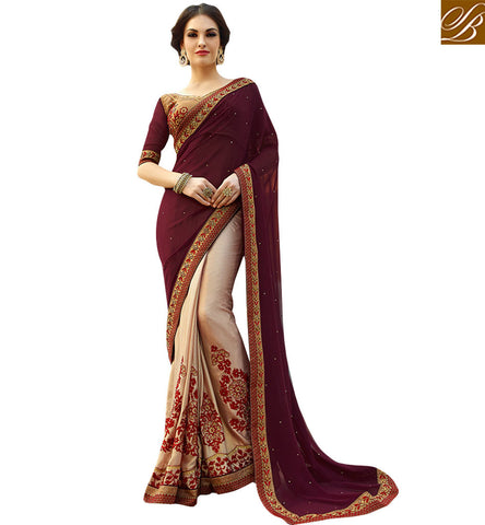 FASCINATING EMBROIDERED DESIGNER HALF AND HALF SARI DESIGN KESMAN3001 BY STYLISH BAZAAR