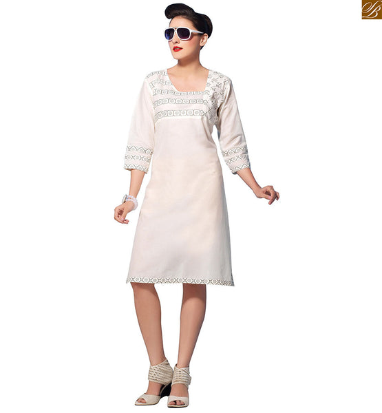 Cotton kurtis online shopping daily wear at cheapest price off-white pure-cotton three fourth type sleeve kurti with square printed neck line and border line Image