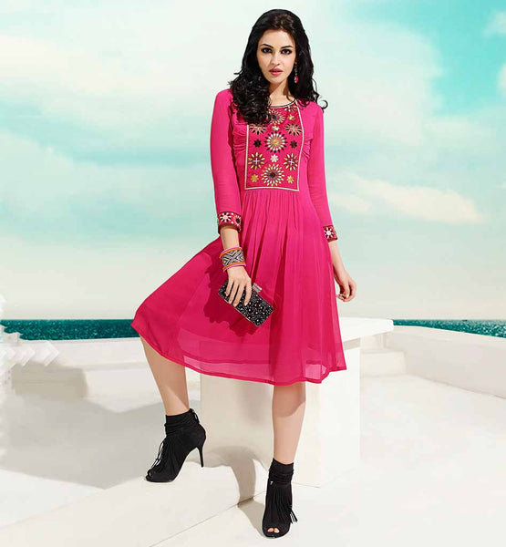SIMPLE ROUND NECK PATTERNS FOR FANCY KURTIS  GEORGETTE PINK COLOR TRENDY KURTI