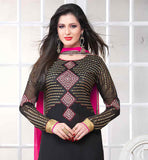 ROUND NECK KAMEEZ IN GOLD AND SILVER EMBROIDRY WORK LONG SLEEVE SALWAR KAMEEZ IN STAIGHT CUT DESIGN ZARI BORDER WORK WITH BLACK AND PINK COMBINATION IN EMBROIDERY WORK