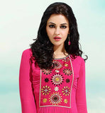 GEORGETTE PINK COLOR TRENDY KURTI THIS EXCITING  KURTI IS DECORATED WITH EMBROIDERY PATCH WORK AT NECK LINE & SLEEVES AND HAS LOVELY PLEATED DESIGN