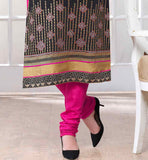 LONG SLEEVE SALWAR KAMEEZ IN STAIGHT CUT DESIGN ZARI BORDER WORK WITH BLACK AND PINK COMBINATION IN EMBROIDERY WORK NEW FSAHOPN PARTY WEAR SALWAR KAMEEZ DESIGNS VDJEN3002