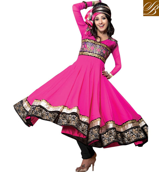 GEORGETTE EMBROIDERED SALWAR KAMEEZ WITH DOUBLE LAYERED LACE BORDER