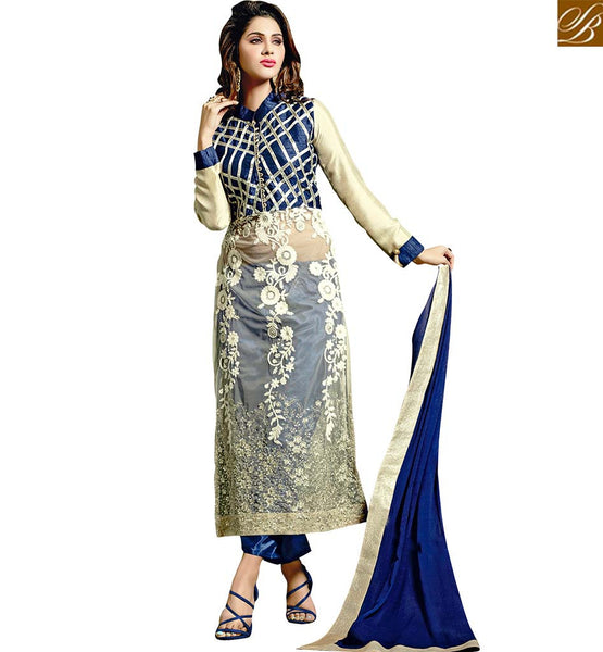 IMPRESSIVELY DESIGNED STRAIGHT CUT PUNJABI SUIT VDRNA3002 OFF WHITE & BLUE