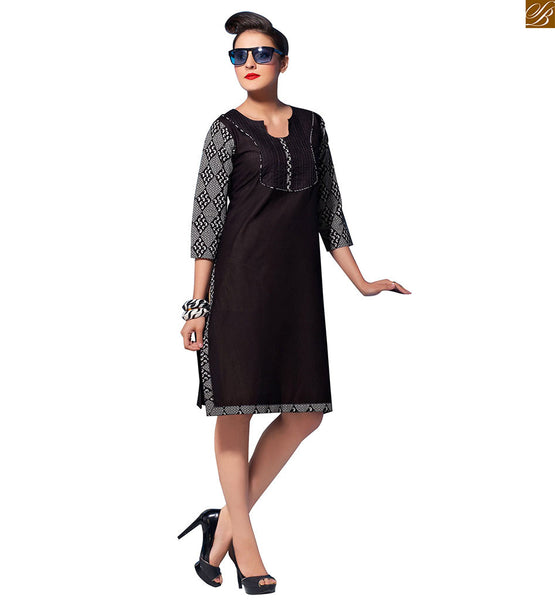 Latest designer kurtis 2015 online at pocket friendly price black pure-cotton princess cut designer kurti with printed three fourth type sleeves and border line Image