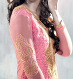3003 Pink Georgette Mugha Godse Karachi style party wear salwar suit bollywood clothing at stylishbazaar