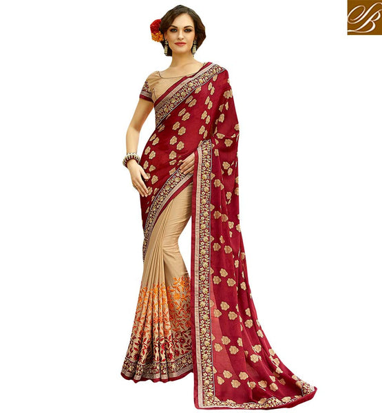 BEAUTIFUL FLORAL EMBROIDERED DESIGNER SAREE DESIGN CRAFTED FOR PARTIES KESMAN3003 BY  CREAM & MAROON