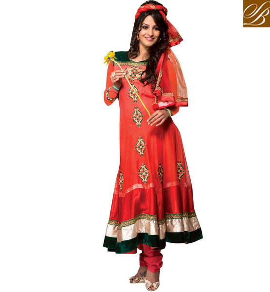 NET SALWAR SUIT SET WITH CONTRAST VELVET PATCH ON YOKE & HEMLINE