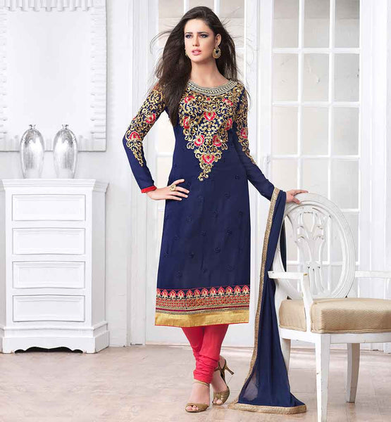 FANCY INDIAN PARTY WEAR CHURIDAR SALWAR KAMEEZ ROUND NECK SALWAR KAMEEZ IN DECORATED WITH GOLDEN & PINK EMROIDERY