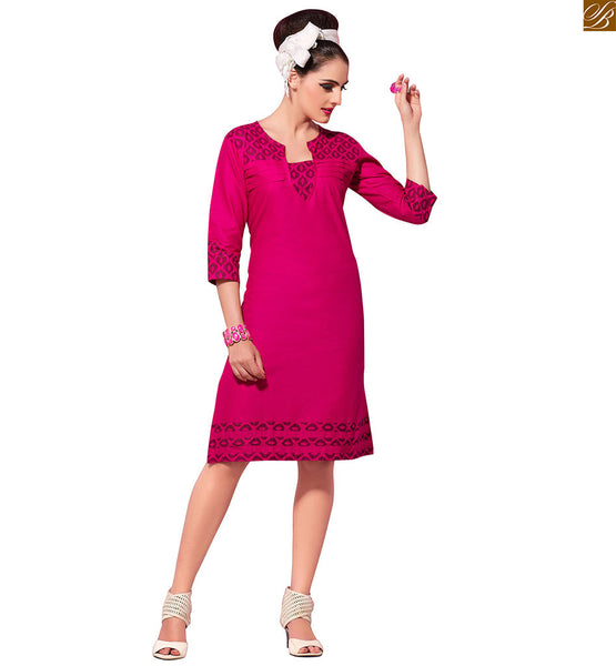 Short kurtis patterns of latest fashion trends high neck designs rani pure-cotton three fourth type designer kurti with print art on lower part for daily wear to get the maximum comfort Image