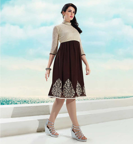 SHOP DESIGNER KURTI WITH STYLISH NECK DESIGNS  OFF WHITE AND BROWN GEORGETTE & NET TOP WITH SANTOON INNER