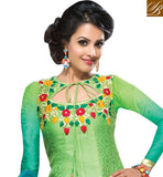 SHADED BLUE & GREEN JACQUARD SALWAR KAMEEZ DRESS WITH NET DUPATTA