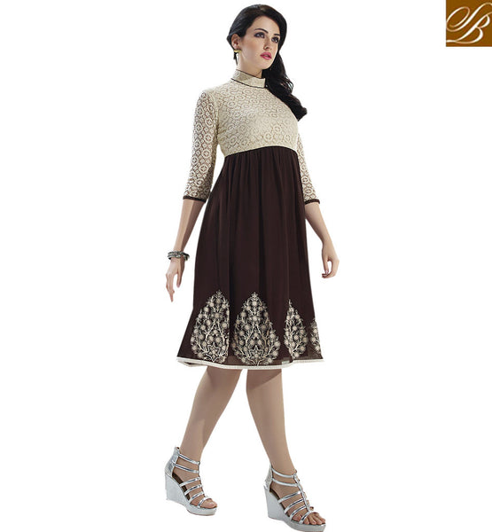 DUAL COLOR KURTI DESIGN FOR PARTIES VDSCH3004 BY STYLISH BAZAAR
