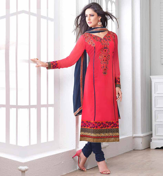 2015 STYLE RAJWADI PARTY WEAR SUIT SALWAR V_NECK IN TOMATO RED COLOR SALWAR KAMEEZ WITH NAVY BLUE COLOR CHIFFON DUPATTA