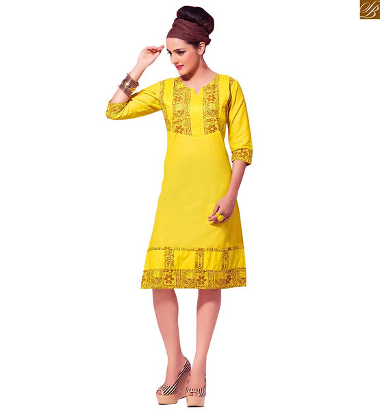 Designer kurtis online shopping india with cash-on-delivery yellow pure-cotton beautiful floral printed casual kurti and floral print art on border line Image