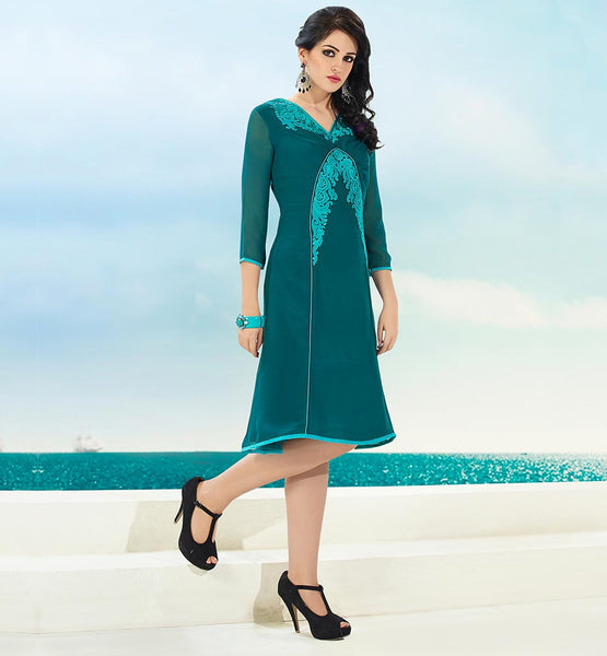 EVER STYLISH INDIAN WOMEN KURTI TOP DESIGNS SIZZLING SEA-GREEN GEORGETTE TOP WITH SANTOON INNER